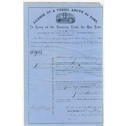 Port of Pittsburgh 1860 Federal Steamboat License.