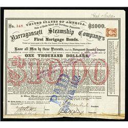 Narragansett Steamship Co., 1869 I/C Bond with General Ambros Burnside Signature as President.