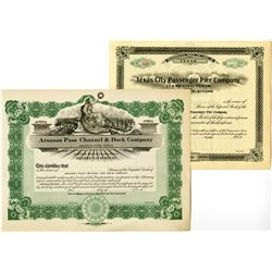 Texas Shipping Related Stock Certificate Pair, ca.1900-1920