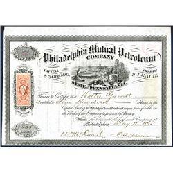 Philadelphia Mutual Petroleum Co., 1865 I/U Stock Certificate.