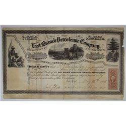 East Branch Petroleum Co., 1865 I/U Stock Certificate.