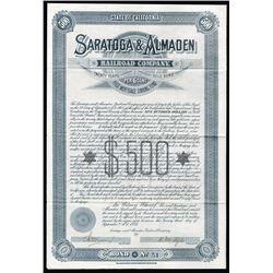 Saratoga & Almaden Railroad Co., 1885 Bond.
