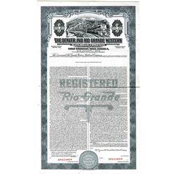 Denver and Rio Grande Western Railroad Co., 1947 Specimen Bond.