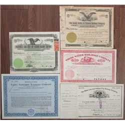 Railroad Stock Certificate Quintet, ca.1878-1936.