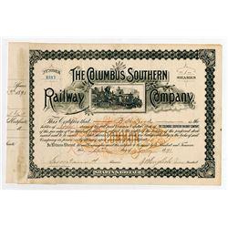 Columbus Southern Railway Co. 1891. I/C Stock Certificate.