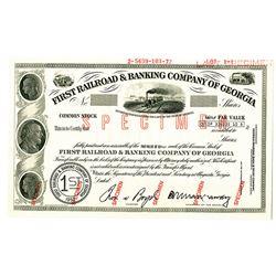 First Railroad & Banking Co. of Georgia 1972 Specimen Stock Certificate