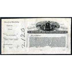 Savannah and Atlanta Railway, ND ca.1900-1920 Proof Stock Certificate.