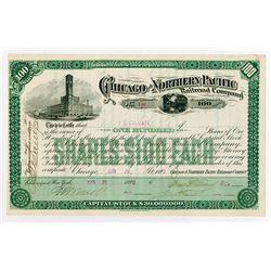Chicago & Northern Pacific Railroad Co. 1890. I/U Stock Certificate.