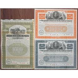 Chicago, Rock Island and Pacific Railway Co. Specimen Bond Trio