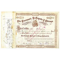 Cincinnati, LaFayette & Chicago Railroad Co. 1873 I/C Stock Certificate Low Serial #3.