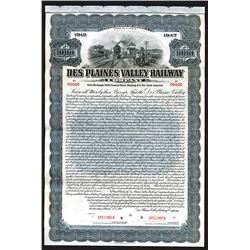 Des Plaines Valley Railway Co., 1912 Specimen Bond.