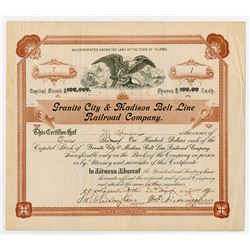 Granite City & Madison Belt Line Railroad Co. 1900 I/C Stock Certificate.