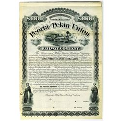 Peoria and Pekin Union Railway Co. 1881 Specimen Bond Rarity