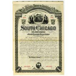 South Chicago Rail Road Co. 1884 Specimen Bond