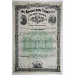 St. Louis and Chicago Railway Co. 1885 Specimen Bond