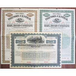 Illinois Central Rail Road Co., 1892 and 1903 Specimen Bond Trio Rarity