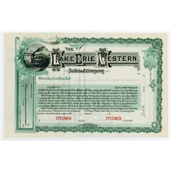 Lake Erie & Western Railroad Co. 1900-10 Specimen Stock Certificate.