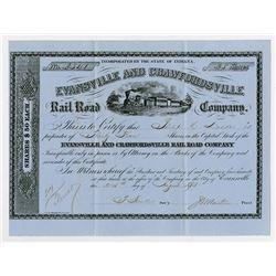Evansville & Crawfordsville Rail Road Co. 1875. I/U Stock Certificate.