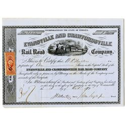 Evansville and Crawfordsville Rail Road Co. 1871 I/U Stock Certificate