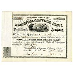 Evansville and Terre Haute Rail Road Co. 1880 I/C Stock Certificate