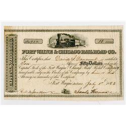 Fort Wayne & Chicago Railroad Co. 1853. I/U Stock Certificate..