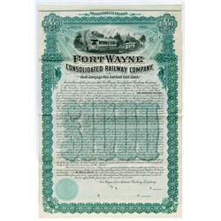 Fort Wayne Consolidated Railway Co. 1895 $1000 Specimen Bond