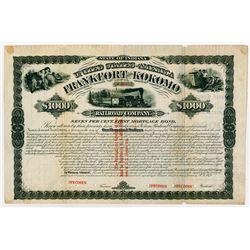 Frankfort and Kokomo Railroad Co., 1879 Specimen Bond