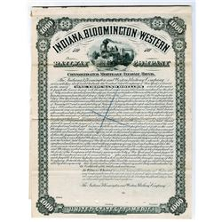 Indiana, Bloomington and Western Railway Co., 1881 $1000 Specimen Bond