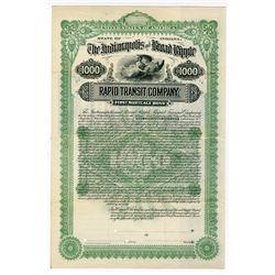 Indianapolis and Broad Ripple Rapid Transit Co. 1892 Specimen Bond