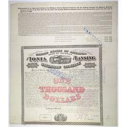 Ionia & Lansing Railroad Co. 1869. I/C Bond.