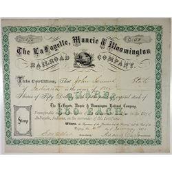 La Fayette, Muncie & Bloomington Railroad Co., 1873 I/U Stock Certificate.