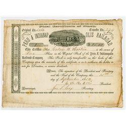 Peru & Indianapolis Railroad Co., 1852 I/U Stock Certificate