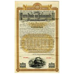 Terre Haute and Indianapolis Railroad Co. 1887 Specimen Bond Rarity