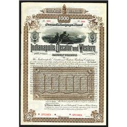 Indianapolis, Decatur and Western Railway Co., 1888, $1000 Specimen Bond.