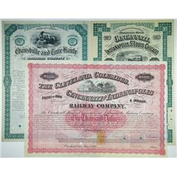 Midwest I/C Railroad Bond Trio, 1869-1880