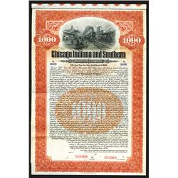 Chicago Indiana and Southern Railroad Co., 1906 Specimen Bond.