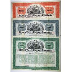 Boyer Valley Railway Co., 1898 Specimen Bond Trio.