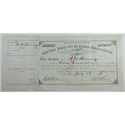 Saint Louis, Kansas City and Colorado Railroad Co., 1886 I/C Stock Certificate.