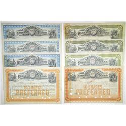 Missouri Kansas & Texas Railway Co., 1893-1912 Group of Cancelled Stock Certificates