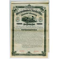 Owensboro & Nashville Railway Co. 1881 Specimen Bond