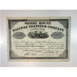 Short Route Railway Transfer Co., 1889 I/C Stock Certificate