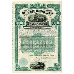 Richmond, Nicholasville, Irvine and Beattyville Railroad Co. 1889 Bond