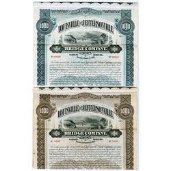 Louisville & Jeffersonville Bridge Co. 1893 & 1895 Specimen Bond Pair.