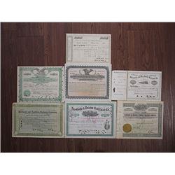 Alabama, South Carolina, Kentucky, Tennessee and Georgia Railroad Stock Certificate Assortment, ca.1