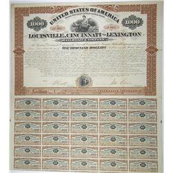 Louisville, Cincinnati & Lexington Railroad (Rail Road) Co. 1873, I/U Bond Signed by John Echols Civ