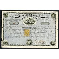 New Orleans, Mobile, and Chattanooga Railroad Co., 1871, I/U Stock with 25cents Imprinted Revenue.