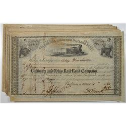 Baltimore and Ohio Rail Road Co., 1860, I/C Stock Certificate Group of 50.