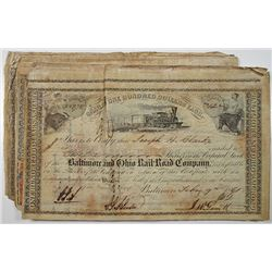 Baltimore and Ohio Rail Road Co., 1860-1862, I/C Stock Certificate Group of 50.