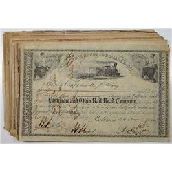 Baltimore and Ohio Rail Road Co., 1860-1863, I/C Stock Certificate Group of 50.