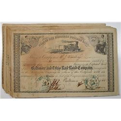 Baltimore and Ohio Rail Road Co., 1860-1865, I/C Stock Certificate Group of 50.